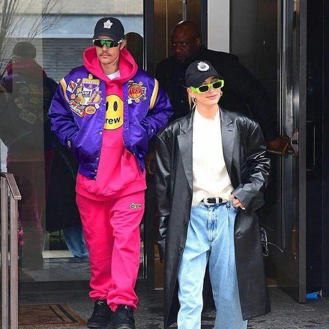 Gucci Fluo Narrow Acetate Rectangular Sunglasses worn by Hailey Baldwin New York City February 6, 2020