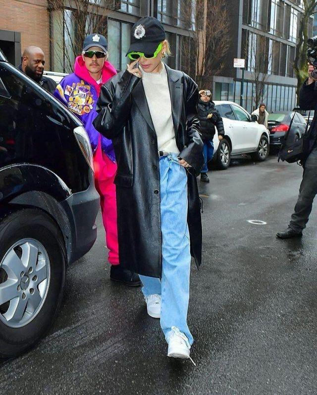 Nike Air Force Sneaker worn by Hailey Baldwin New York City February 6, 2020