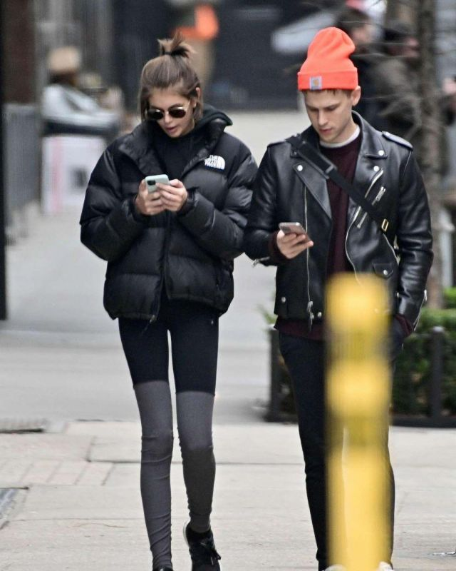 The North Face Nuptse Packable Quilted Down Jacket worn by Kaia Jordan Gerber New York City February 5, 2020