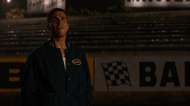 Goodyear bomber race jacket worn by Ken Miles (Christian Bale) as seen in Ford v Ferrari