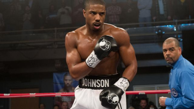 The authentic boxing gloves worn by Michael B. Jordan in Creed