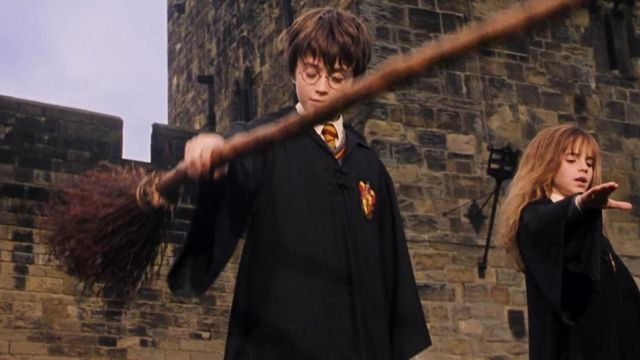 The authentic broom flying Harry Potter (Daniel Radcliffe) in ...