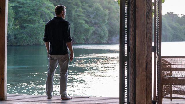 Tom Ford grey denim pants worn by James Bond 007 (Daniel Craig) as seen in No Time to Die