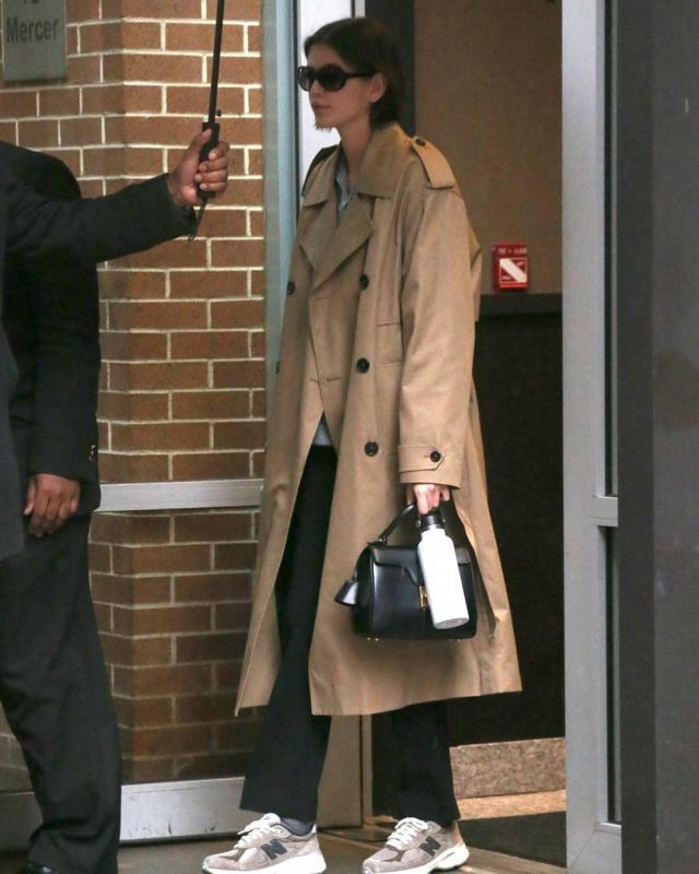 Celine Large Bag in Grained Calfskin worn by Kaia Jordan Gerber New York City February 10, 2020