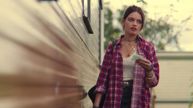 Red Plaid shirt worn by Maeve Wiley (Emma Mackey) as seen in Sex Education (S02E03)