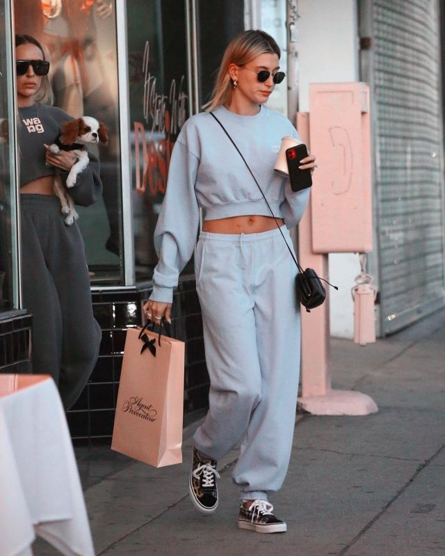 Livin Cool Embroidered Cropped Sweatshirt worn by Hailey Baldwin Agent Provocateur February 12, 2020