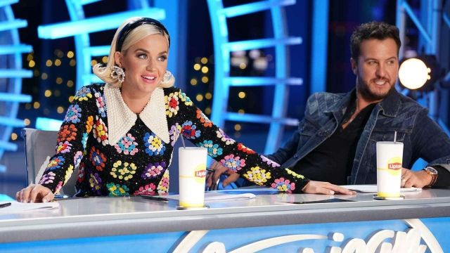 Knit Flower dress in black worn by Katy Perry as seen in American Idol February, 2020