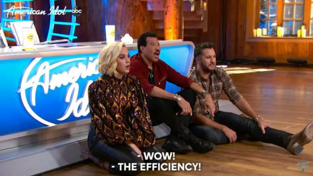 Jonathan simkhai Vegan Leather Tie-Waist Pants worn by Katy Perry on American Idol February 15, 2020