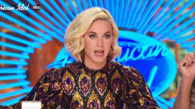 Area Puffed-effect Hoop Earrings worn by Katy Perry on American Idol February, 2020