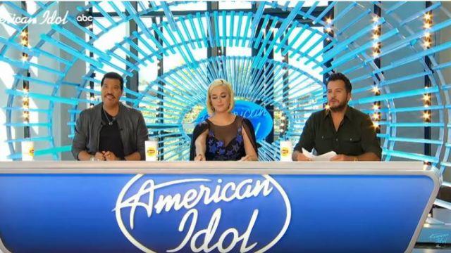 Azzaro Blue Dress worn by Katy Perry on American Idol February 16, 2020