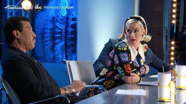 The greenhouse head black, worn by Katy Perry in American Idol (February 2020)