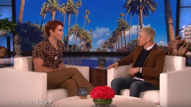 Onia Manches Courtes Vacances imprimé Hawaïen Shirt porté par KJ Apa sur Le Ellen DeGeneres Show le 19 février 2020