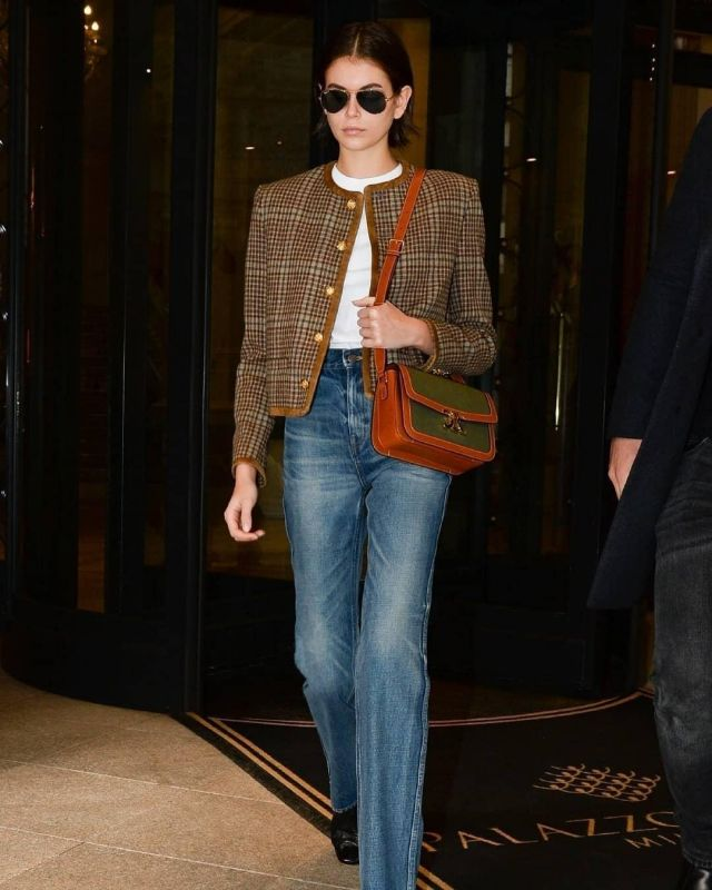 By Far Sofia Leather Ankle Booties worn by Kaia Jordan Gerber Milan February 19, 2020
