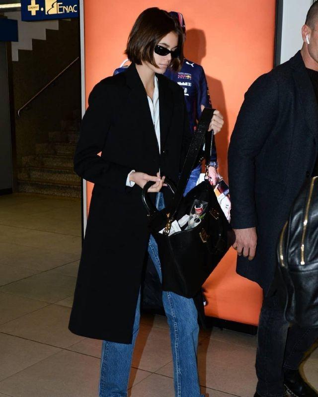 Fendi Medium Glacier Top Handle Leather Tote worn by Kaia Jordan Gerber Milan Airport February 18, 2020