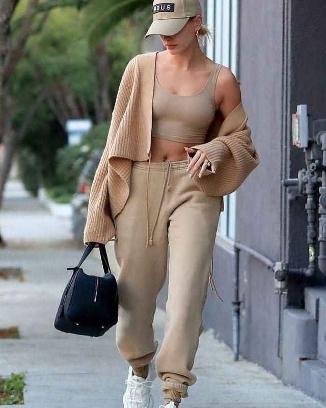 PrettyLittleThing Shape Crop Top worn by Hailey Baldwin West Hollywood February 17, 2020