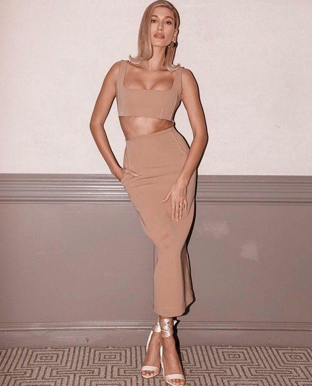 Paris Georgia Nina Bralette worn by Hailey Baldwin Bareminerals Event February 19, 2020