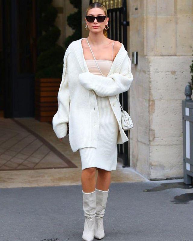 Bottega Veneta Felted Rib Cardigan Sweater worn by Hailey Baldwin Paris February 27, 2020