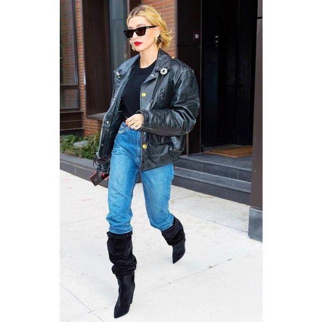 Saint Laurent Era Boots worn by Hailey Baldwin Brooklyn February 28, 2020