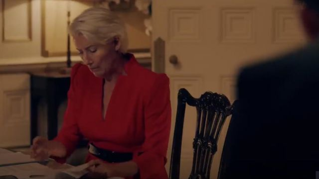 The red dress V-neck shoulders marked range by Vivienne Rook (Emma Thompson) in Years and Years (Season 1)