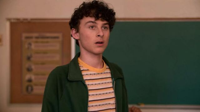 The green jacket of Stanley Barber (Wyatt Oleff) in I Am Not Okay with This (S01E05)