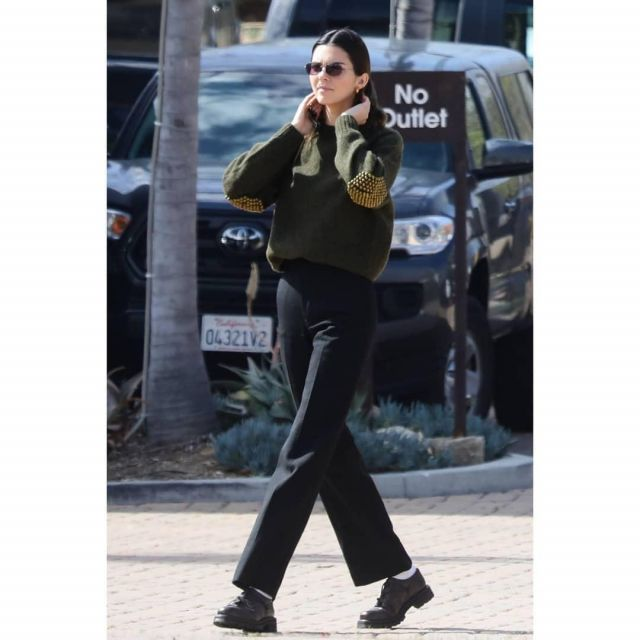 Dr. Martens Plain Toe Der­by worn by Kendall Jenner Malibu March 1, 2020