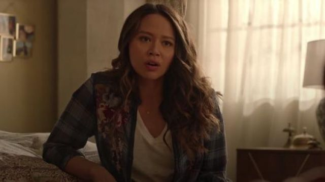 Embroidered Blue Flannel Shirt worn by Lucy Chen (Melissa O'Neil) in The Rookie Season 2 Episode 12