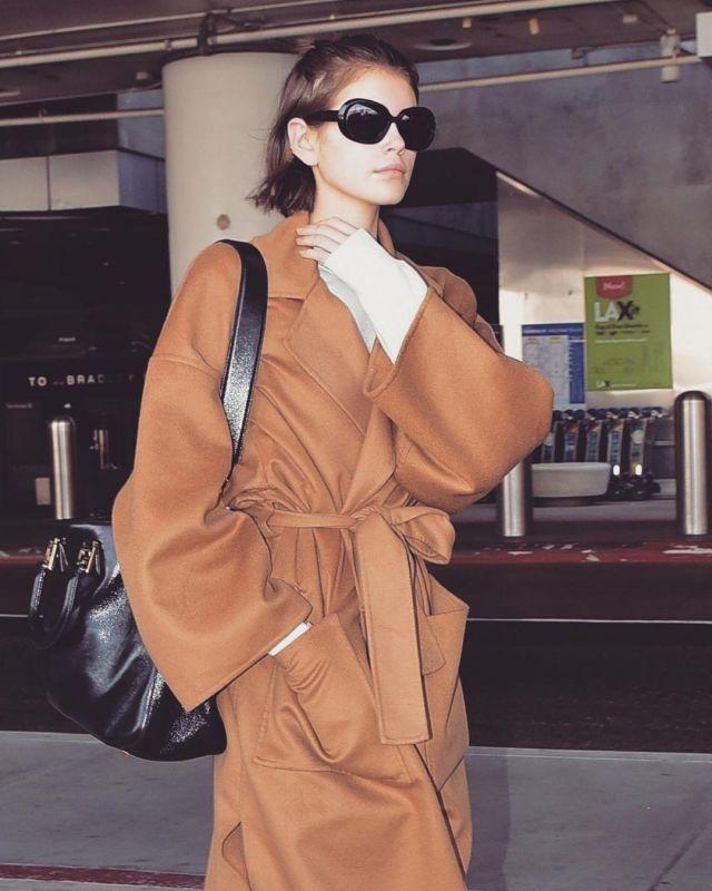 Loewe Oversized Belted Coat worn by Kaia Jordan Gerber Los Angeles March 5, 2020