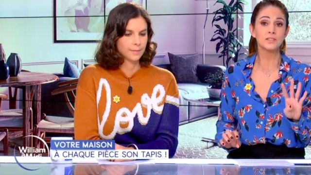 """The sweater jacquard """"Love"""" of Raphaéle Marchal in William at noon the 10.03.2020"""