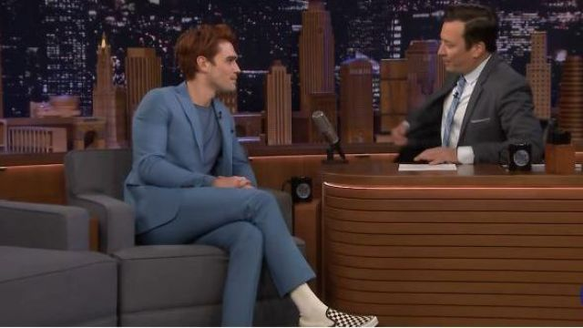 Vans White Checkered Sneakers worn by KJ Apa on The Tonight Show Starring Jimmy Fallon March 10, 2020