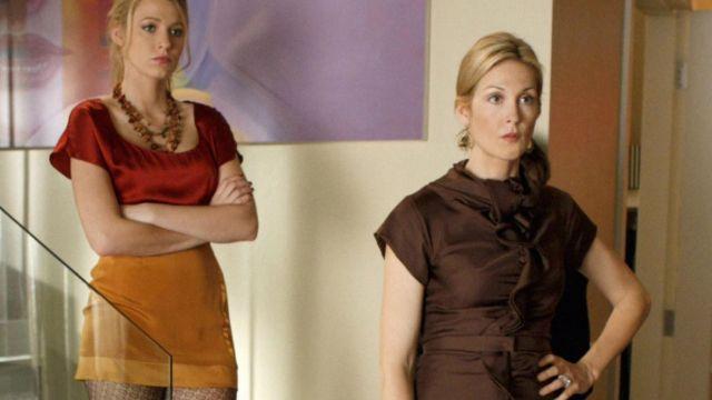 Le jupe jaune moutarde de Serena van der Woodsen (Blake Lively) dans Gossip Girl (S02E11)