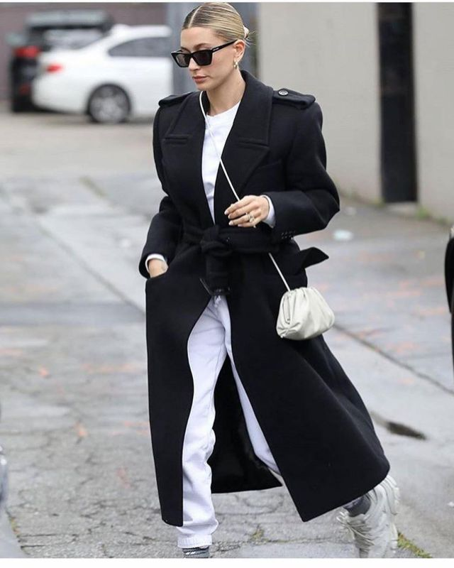 Saint Laurent Oversized Belted Coat worn by Hailey Bieber in Beverly Hills March 10, 2020