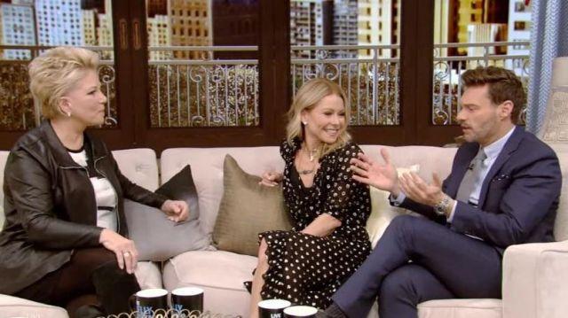 Shoshanna d'Impression Noire Robe portée par Kelly Ripa sur le LIVE avec Kelly et Ryan 11 Mars 2020