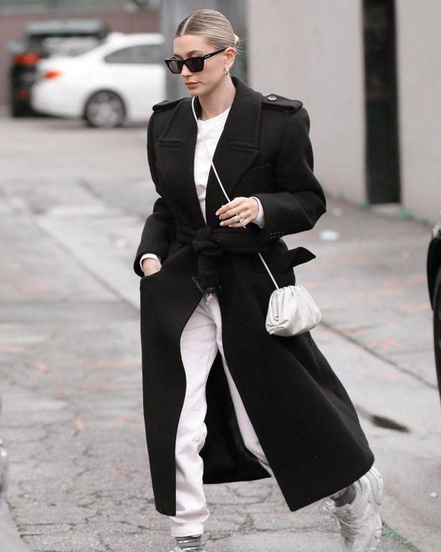 Balenciaga White Low Top Sneaker worn by Hailey Baldwin Beverly Hills March 10, 2020