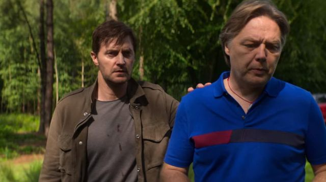 The polo blue Hugo Boss worn by Doug Tripp (Shaun Dooley) in the series of Intimidation (S01E08)