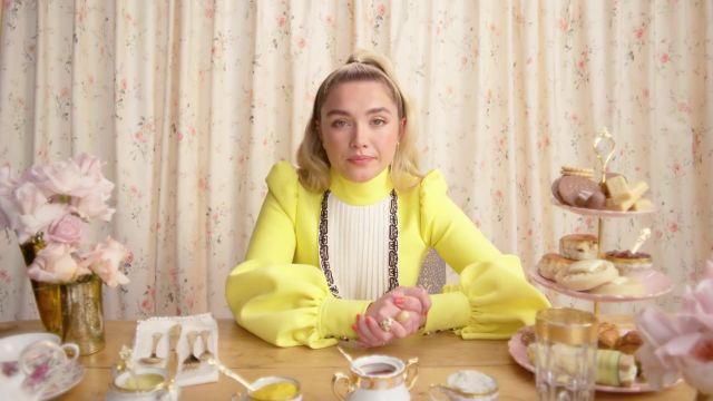 Louis Vuitton Yellow Dress worn by Florence Pugh in Florence Pugh Eats 11 English Dishes - Mukbang   Vogue