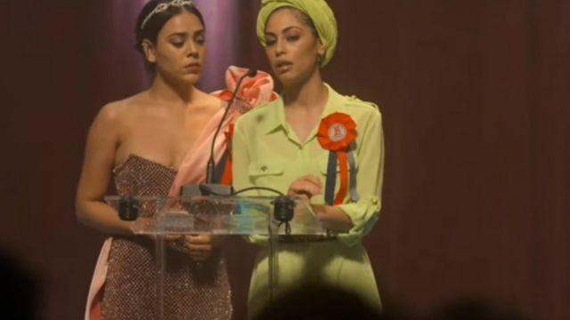 The dress lime green worn by Nadia (Mina El Hammani) in the series Elite (Season 3 Episode 7)
