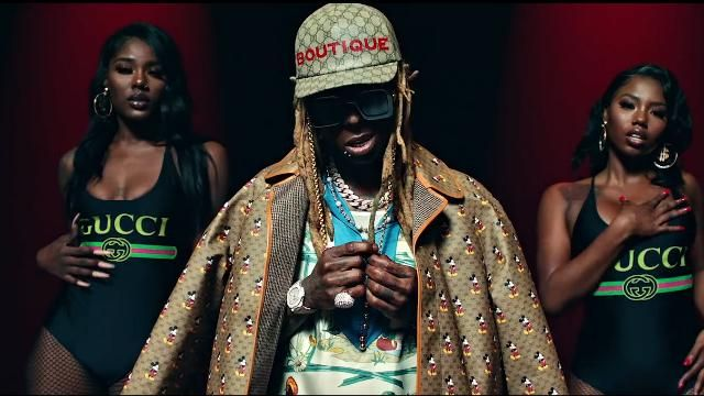 Gucci Boutique Print Baseball Cap worn by Lil Wayne in the music video Lil Wayne - Mama Mia (Official Video)