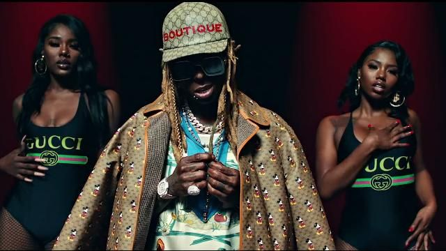 Gucci x Disney Mickey GG Print Reversible Coat worn by Lil Wayne in the music video Lil Wayne - Mama Mia (Official Video)
