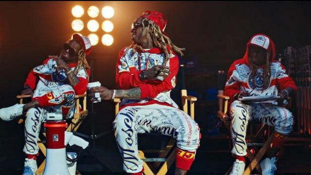 Moschino King Of Clothes Print Cap worn by Lil Wayne in the music video Lil Wayne - Mama Mia (Official Video)