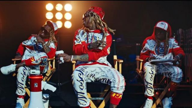 Moschino Red & White Hood­ie worn by Lil Wayne in the music video Lil Wayne - Mama Mia (Official Video)