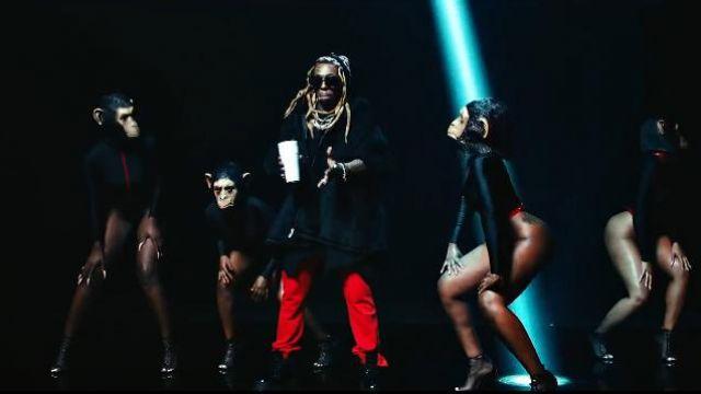 Balenciaga Black Logo-Jacquard Virgin Wool and Camel worn by Lil Wayne in the music video Lil Wayne - Mama Mia (Official Video)
