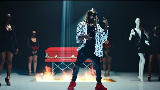 Balenciaga Triple S Clear Sole Sneaker Red for Men worn by Lil Wayne in the music video Lil Wayne - Mama Mia (Official Video)