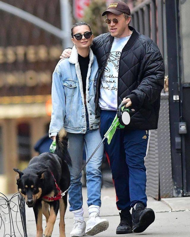 Jennifer Fisher Mini Lilly Hoop Earrings worn by Emily Ratajkowski New York City March 17, 2020