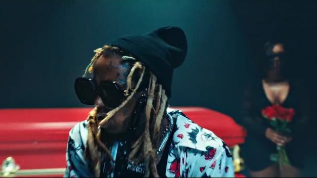 Gucci Black Glasses Chain worn by Lil Wayne in the music video Lil Wayne - Mama Mia (Official Video)