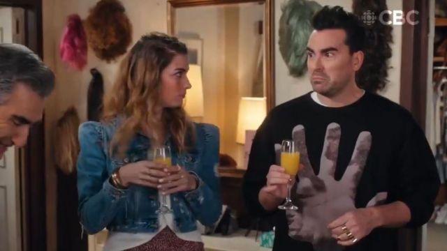 Dries Van Noten Haston Hand Print Cotton Sweatshirt worn by David Rose (Daniel Levy) in Schitt's Creek (S06E13)