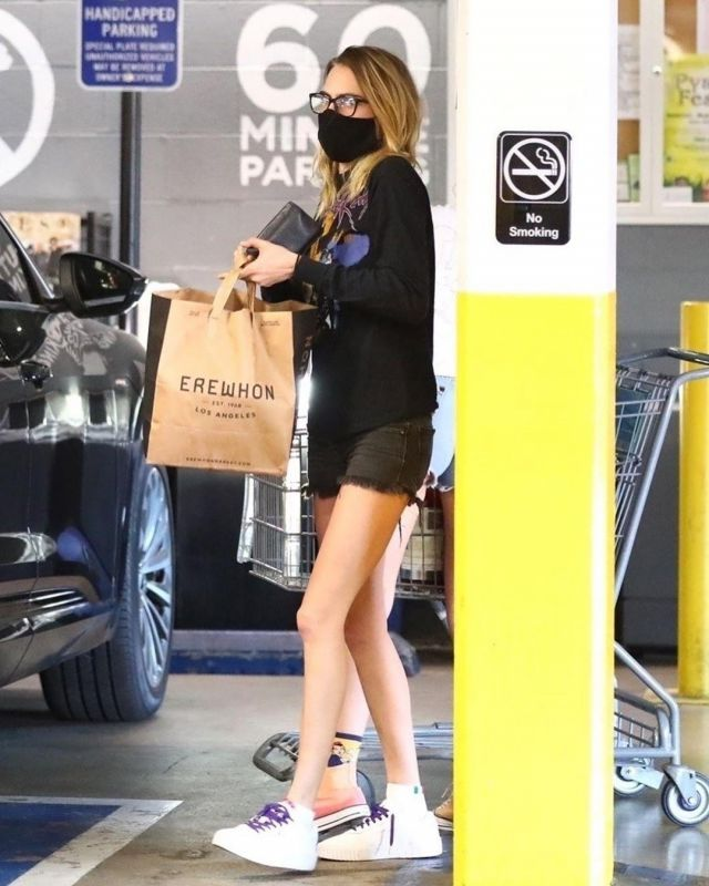 Joint Custody Prince Purple Rain Long Sleeve Shirt worn by Cara Delevingne  Grocery Shopping at Erewhon March 26, 2020