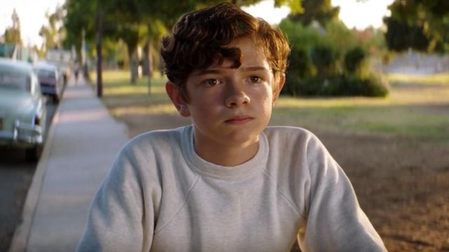 White-Heather Crewneck Sweatshirt worn by Peter Miles (Noah Jupe) in Ford v Ferrari