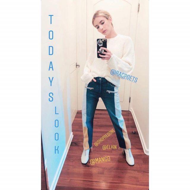 Levi's Patchwork Denim Skinny Jean worn by Emma Roberts Instagram Story March 29, 2020