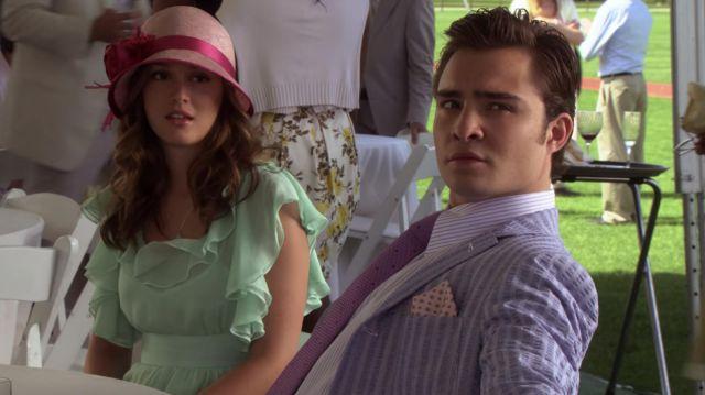 La veste de costume rayée de Chuck Bass (Ed Westwick) dans Gossip Girl (S03E01)