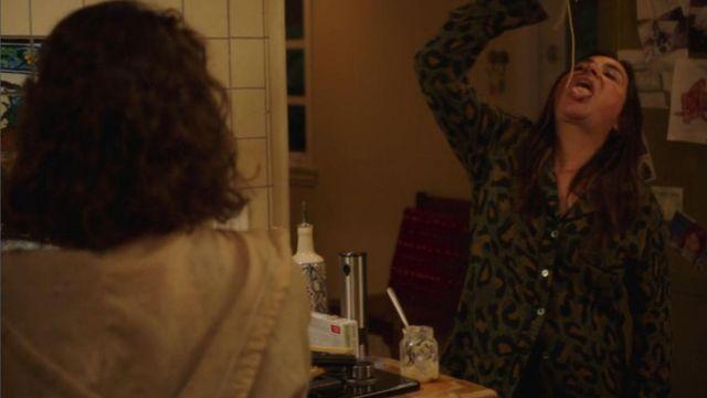Green Leopard Print Pajamas worn by Sam Fox (Pamela Adlon) in Better Things Season 4 Episode 5